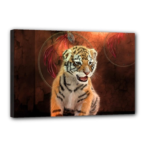 Cute Little Tiger Baby Canvas 18  X 12