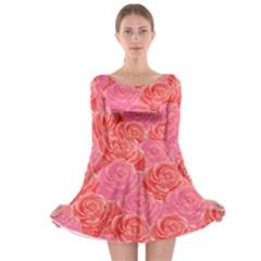 Roses Long Sleeve Skater Dress