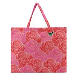 Roses Zipper Large Tote Bag