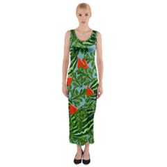 Juicy Watermelons Fitted Maxi Dress