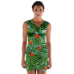 Juicy Watermelons Wrap Front Bodycon Dress