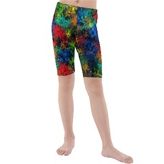 Squiggly Abstract A Kids  Mid Length Swim Shorts