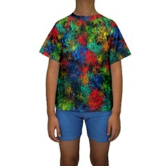 Squiggly Abstract A Kids  Short Sleeve Swimwear