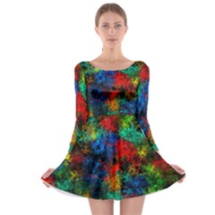 Squiggly Abstract A Long Sleeve Skater Dress