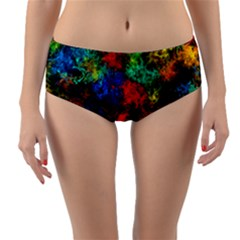 Squiggly Abstract A Reversible Mid Waist Bikini Bottoms