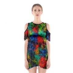 Squiggly Abstract A Shoulder Cutout One Piece