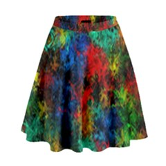 Squiggly Abstract A High Waist Skirt