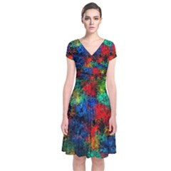 Squiggly Abstract A Short Sleeve Front Wrap Dress