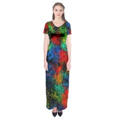 Squiggly Abstract A Short Sleeve Maxi Dress