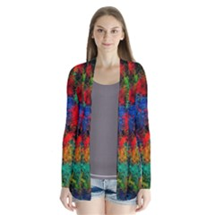 Squiggly Abstract A Drape Collar Cardigan