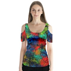 Squiggly Abstract A Butterfly Sleeve Cutout Tee