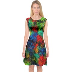 Squiggly Abstract A Capsleeve Midi Dress