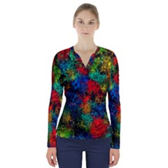 Squiggly Abstract A V Neck Long Sleeve Top
