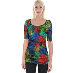 Squiggly Abstract A Wide Neckline Tee