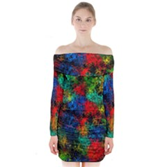 Squiggly Abstract A Long Sleeve Off Shoulder Dress