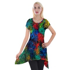 Squiggly Abstract A Short Sleeve Side Drop Tunic