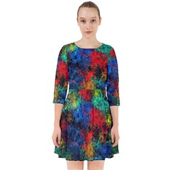 Squiggly Abstract A Smock Dress