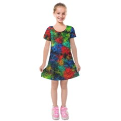 Squiggly Abstract A Kids  Short Sleeve Velvet Dress