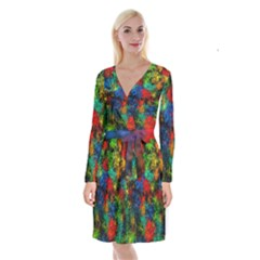 Squiggly Abstract A Long Sleeve Velvet Front Wrap Dress