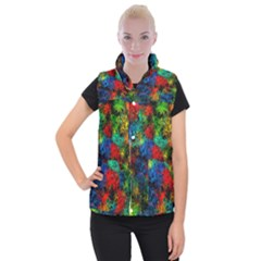 Squiggly Abstract A Women s Button Up Puffer Vest