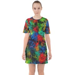 Squiggly Abstract A Sixties Short Sleeve Mini Dress