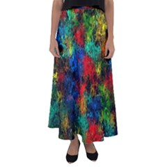 Squiggly Abstract A Flared Maxi Skirt
