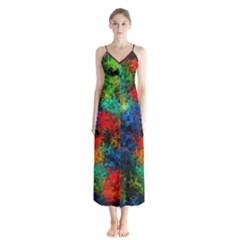 Squiggly Abstract A Button Up Chiffon Maxi Dress