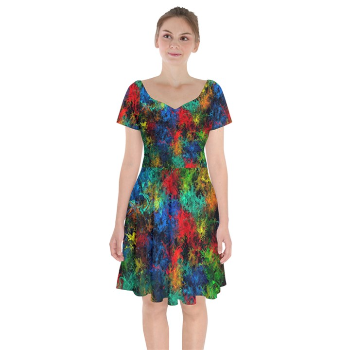 Squiggly Abstract A Short Sleeve Bardot Dress