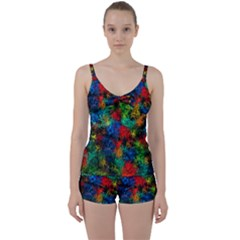 Squiggly Abstract A Tie Front Two Piece Tankini