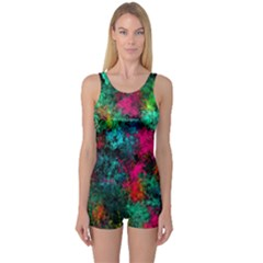 Squiggly Abstract B One Piece Boyleg Swimsuit