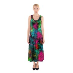 Squiggly Abstract B Sleeveless Maxi Dress