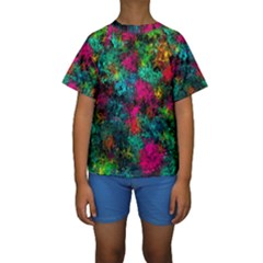 Squiggly Abstract B Kids  Short Sleeve Swimwear