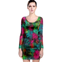 Squiggly Abstract B Long Sleeve Bodycon Dress