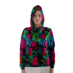 Squiggly Abstract B Hooded Wind Breaker (women)