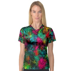 Squiggly Abstract B V Neck Sport Mesh Tee