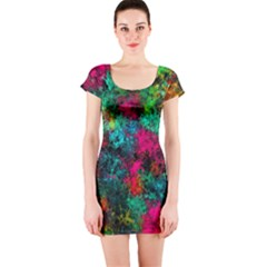Squiggly Abstract B Short Sleeve Bodycon Dress