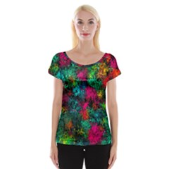Squiggly Abstract B Cap Sleeve Tops