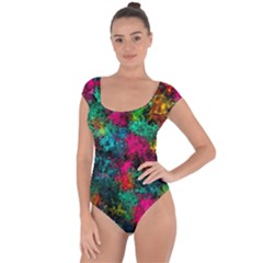 Squiggly Abstract B Short Sleeve Leotard