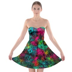 Squiggly Abstract B Strapless Bra Top Dress
