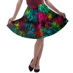 Squiggly Abstract B A Line Skater Skirt