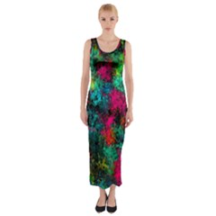 Squiggly Abstract B Fitted Maxi Dress