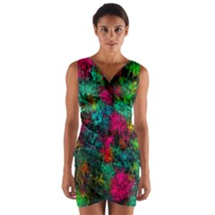 Squiggly Abstract B Wrap Front Bodycon Dress