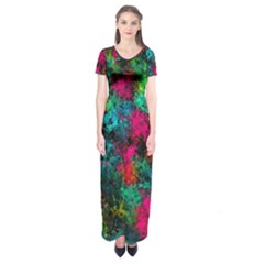 Squiggly Abstract B Short Sleeve Maxi Dress