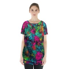 Squiggly Abstract B Skirt Hem Sports Top