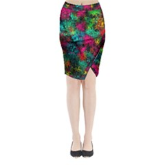 Squiggly Abstract B Midi Wrap Pencil Skirt