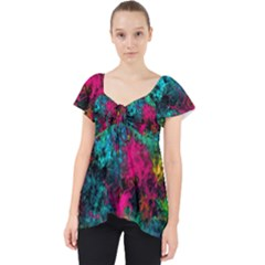 Squiggly Abstract B Lace Front Dolly Top