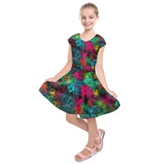 Squiggly Abstract B Kids  Short Sleeve Dress