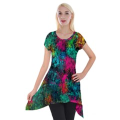 Squiggly Abstract B Short Sleeve Side Drop Tunic