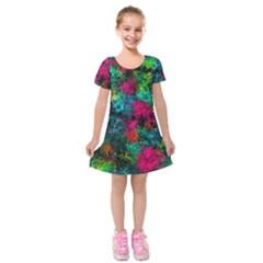 Squiggly Abstract B Kids  Short Sleeve Velvet Dress