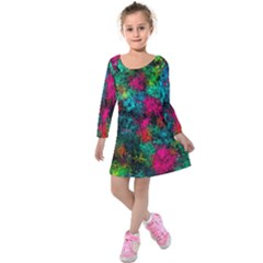 Squiggly Abstract B Kids  Long Sleeve Velvet Dress